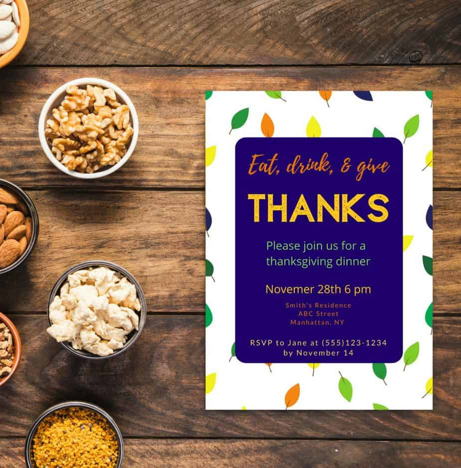 free thanksgiving intivtation template for canva leaves and blue