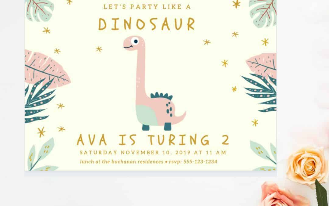 pink dino invitation template for Canva. Easily turn this template into an invitation for any kind of occasion. Let me show you how.