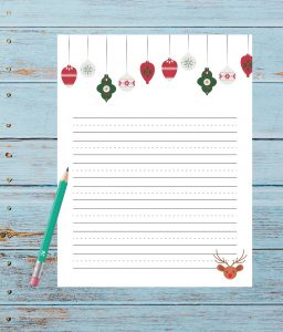 santa letter reindeer and ornaments and pencil