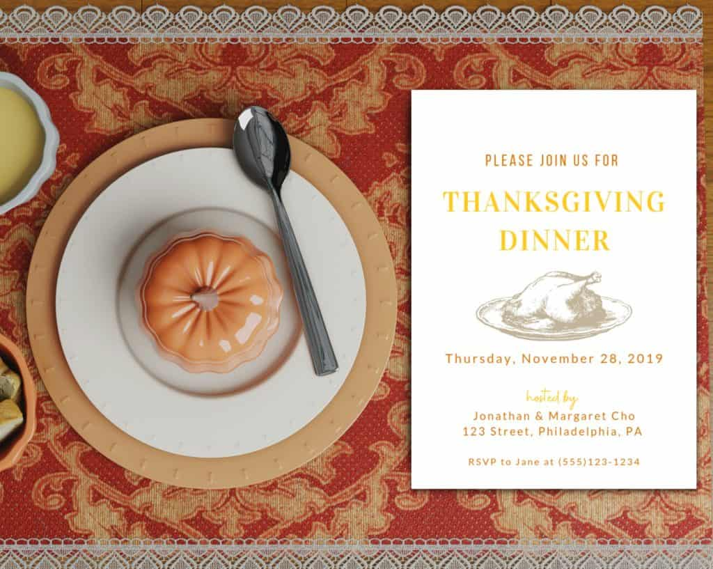 free thanksgiving invitation template for Canva turkey