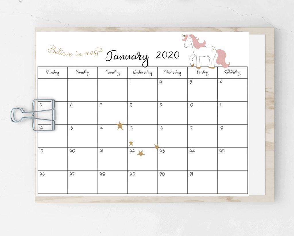 free printable 2020 unicorn calendar