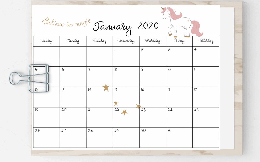 Free 2020 Unicorn Printable Calendar