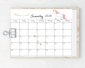 free printable 2020 unicorn calendar