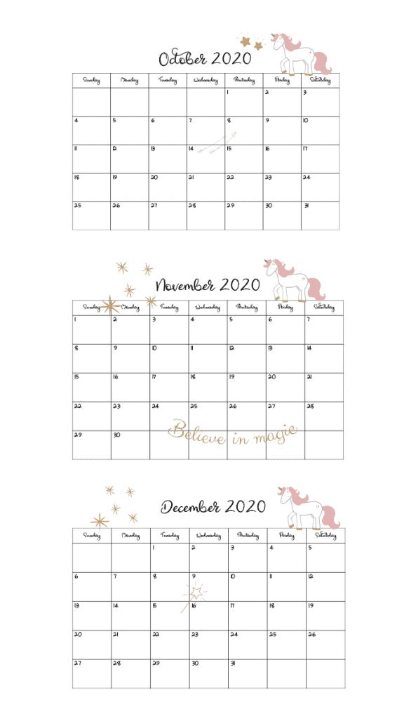 2020 unicorn calendar oct-dec