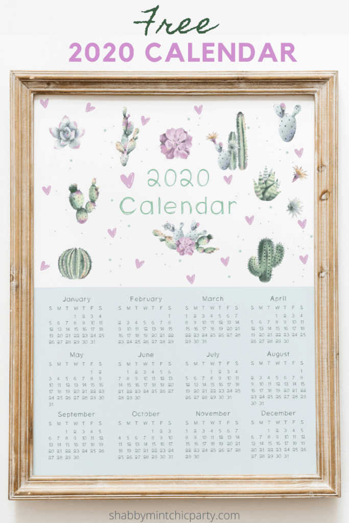2020 yearly calendar cactus