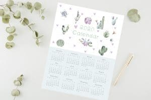 2020 yearly calendar cactus for all the cactus lover.