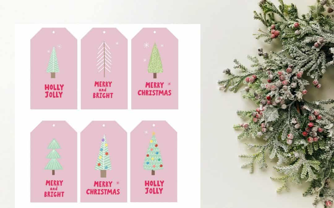 Christmas gift tags trees