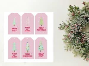 Christmas gift tags trees
