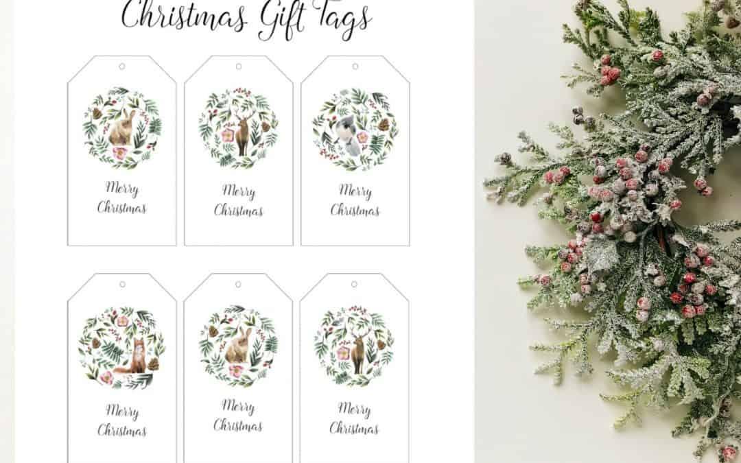 Free Woodland Animal Christmas Gift Tag Printables