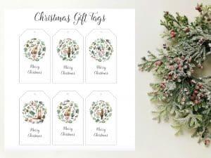 Free Christmas woodland gift tags