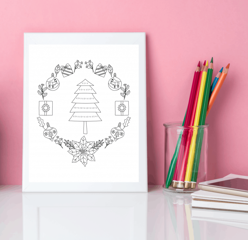 Christmas tree mandala coloring page for adults and kids