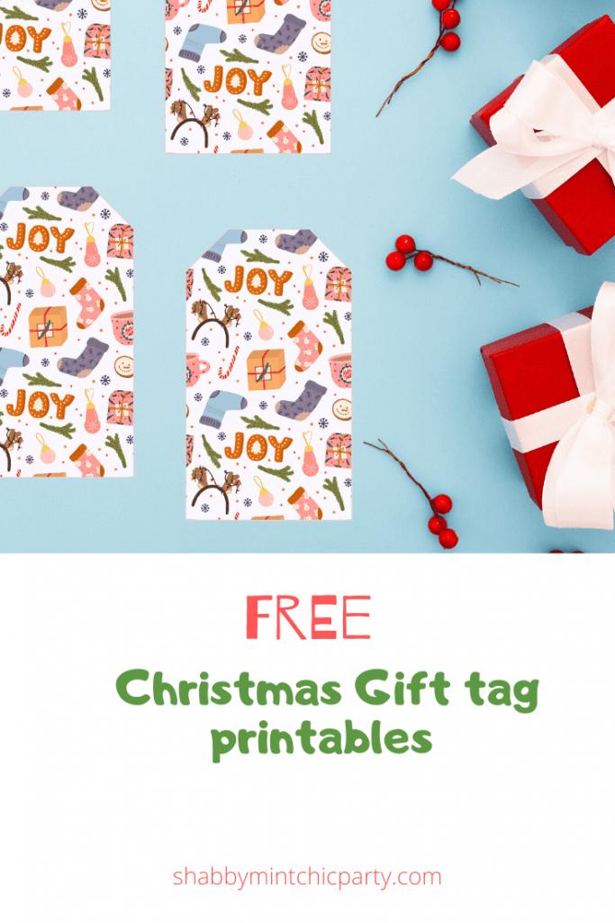 JOY Christmas gift tags