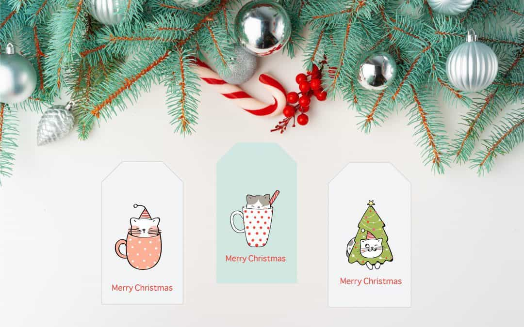 Free Cat Christmas Gift Tag Printables