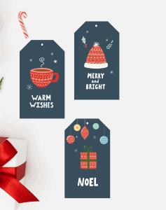 cozy christmas gift tag mock