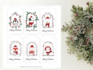 cute animal christmas gift tag
