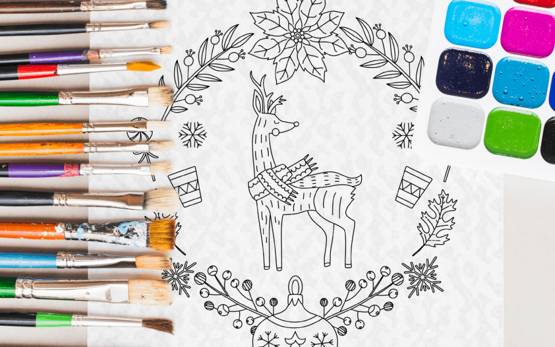 Christmas deer mandala coloring book for kids and adults