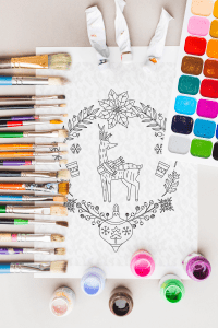 Christmas deer mandala coloring book for kids and adults