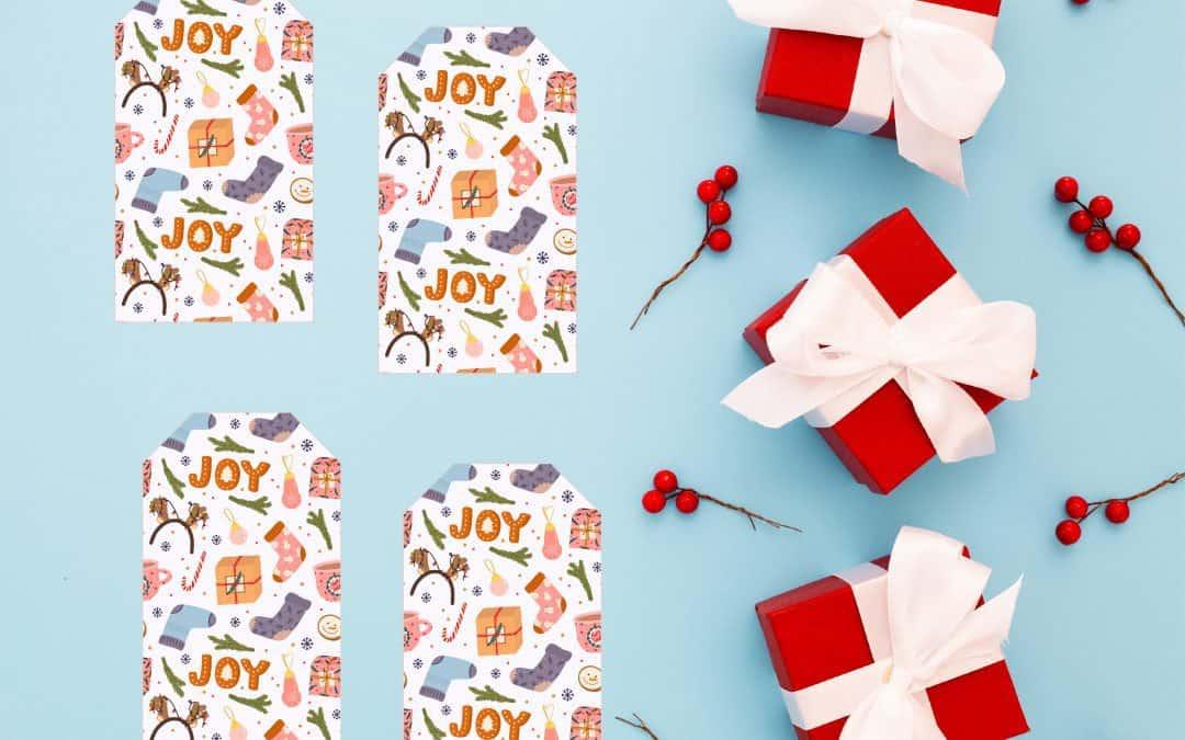 joy christmas gift tag