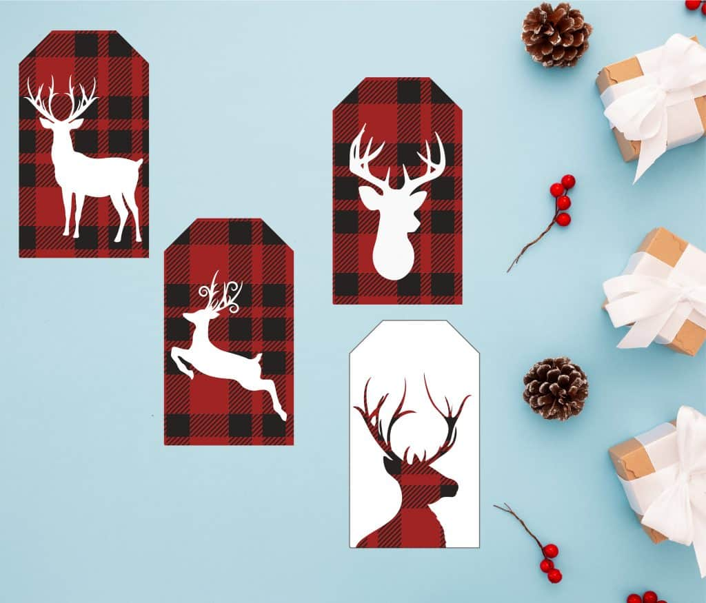 Reindeer red gift tag Printables