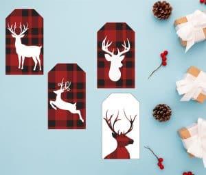 Reindeer red gift tag Printables