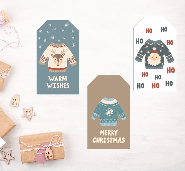 Family Ugly Christmas Sweaters + Gift Tag Printable