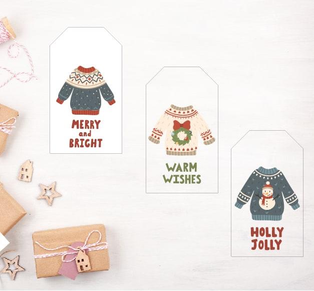ugly sweaters gift tag deer santa