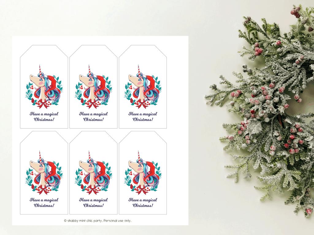 unicorn christmas gift tags