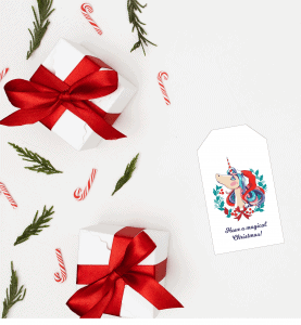 unicorn Christmas gift tag