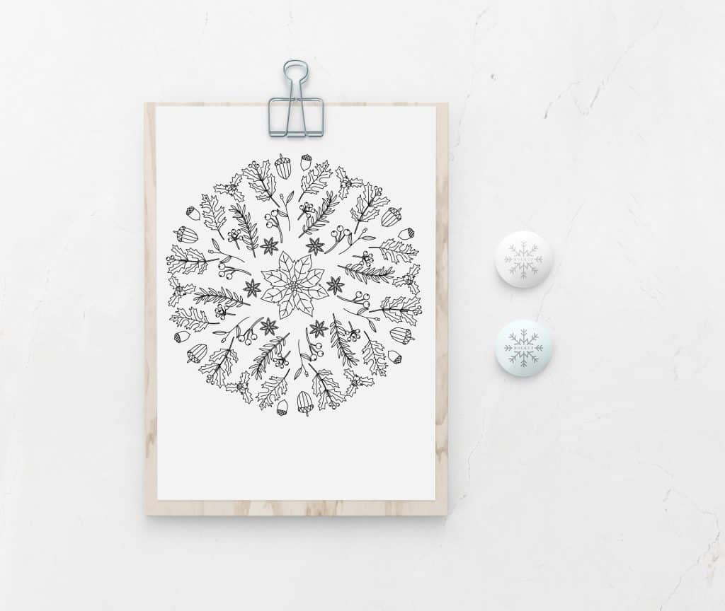 winter flower mandala coloring page