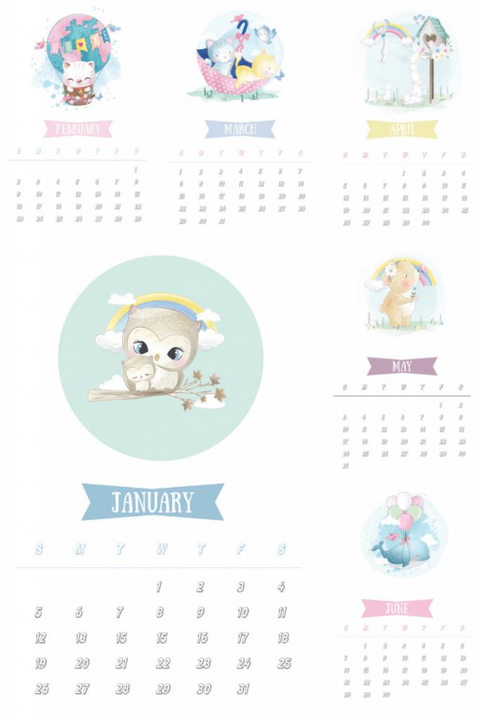 2020 Cute animal calendar