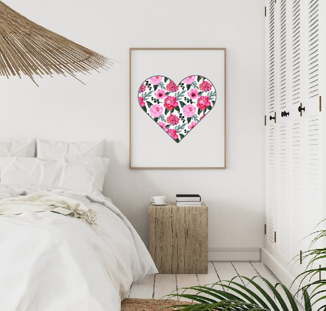 Valentine's Day floral heart 16x20 in frame
