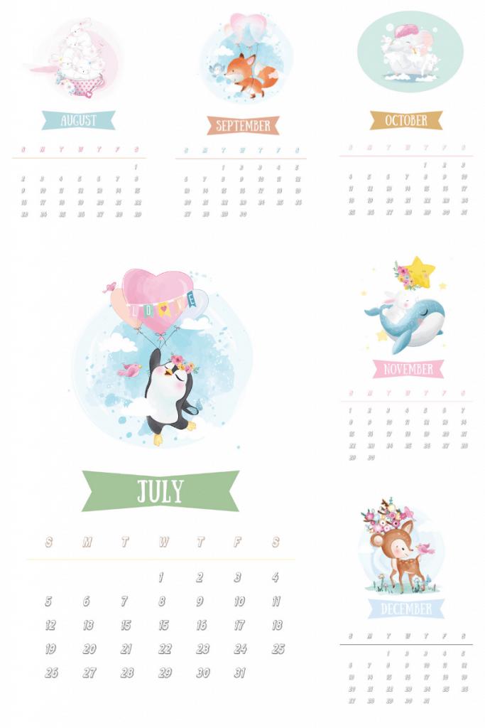 cute 2020 animal calendar