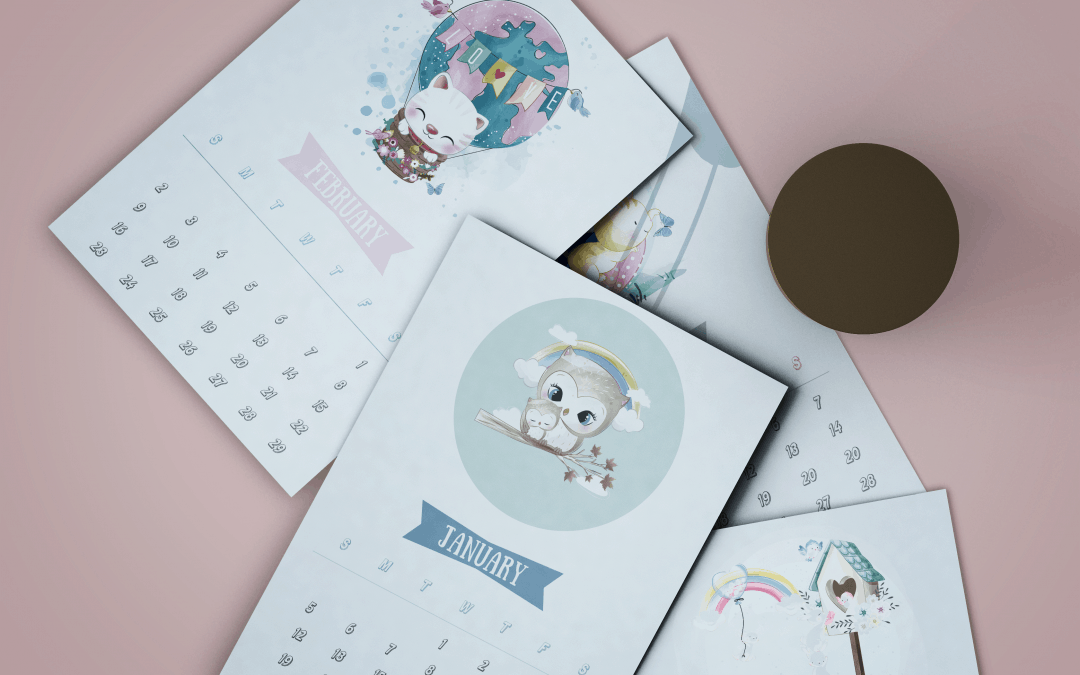 Free 2020 cute animal calendar