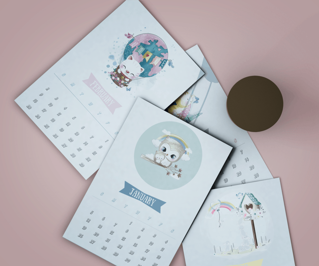 2020 Adorable Animal Art Calendar With Clipboard