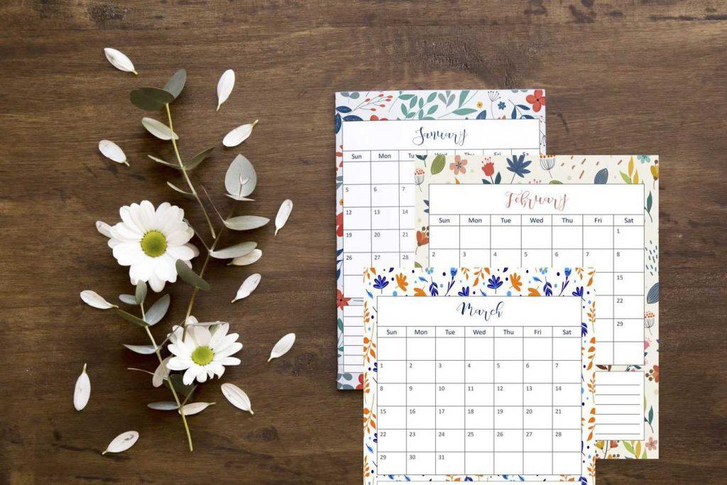 2020 floral calendar printable planner