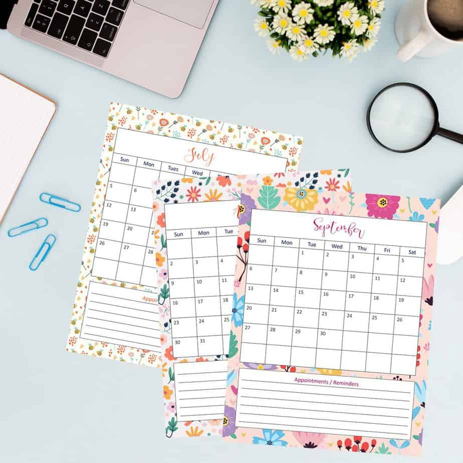 2020 floral calendar printable for kids and adults