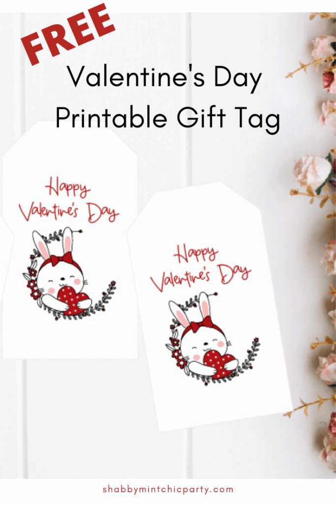 Bunny Valentine's Day Gift Tag Pinterest
