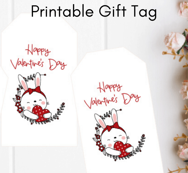 Free Bunny Valentine's Day Gift Tag