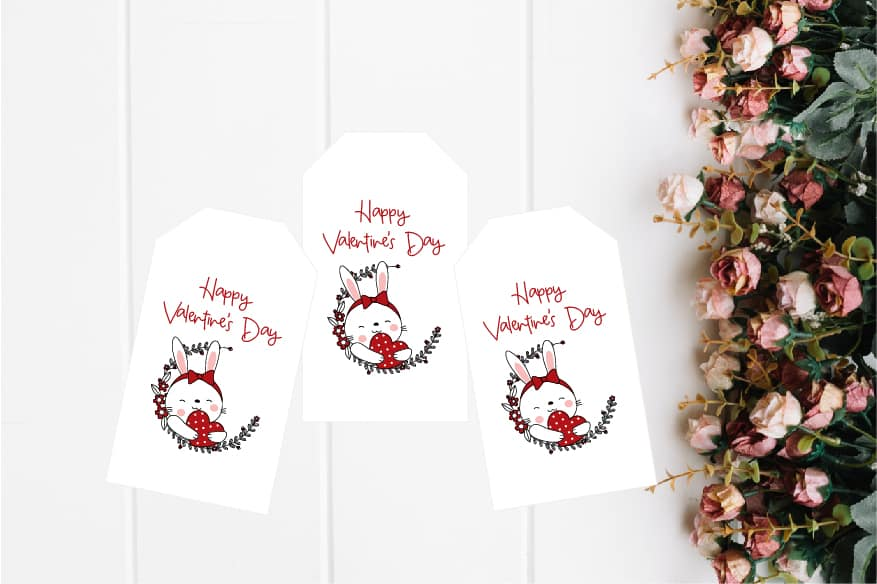 bunny valentine's day tag m-100