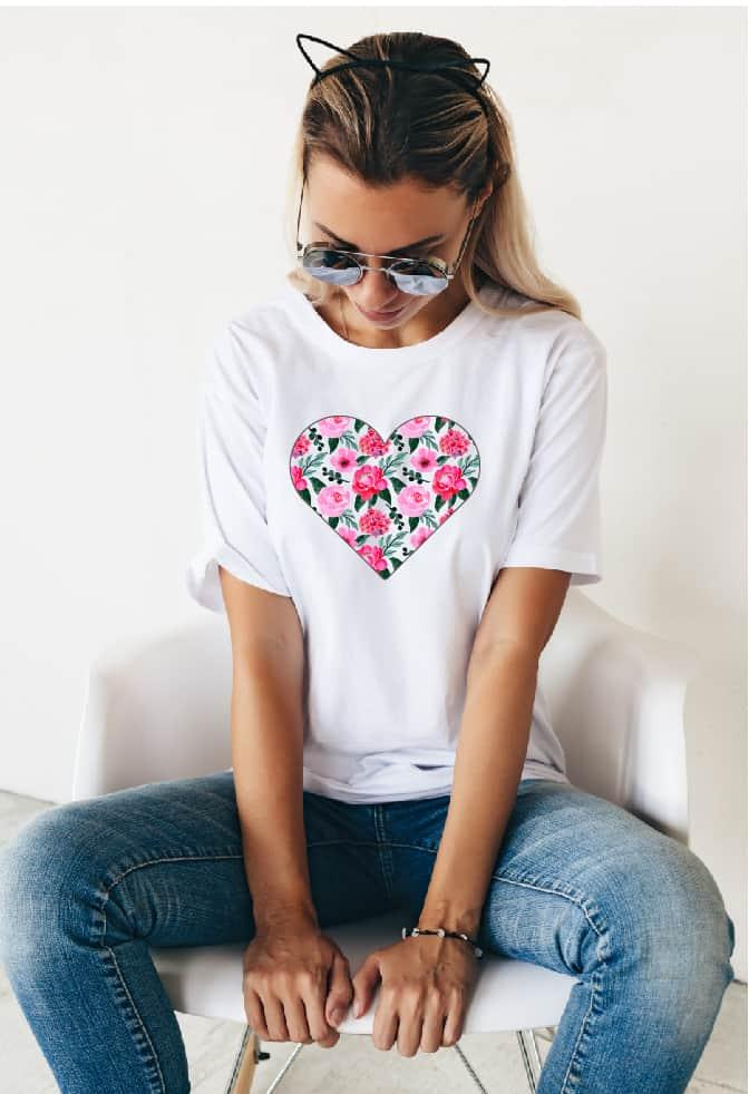 Valentine's Day heart design on T-shirt.