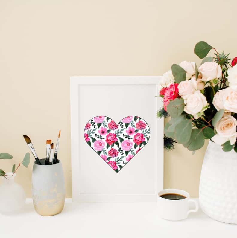Valentine's Day floral heart design for all your crafts and Valentine's Day projects.