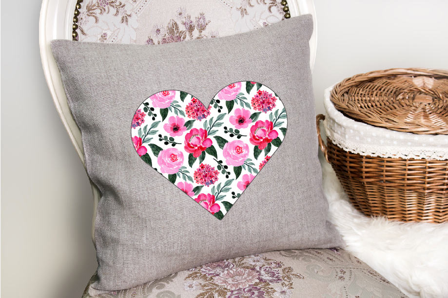 Valentine's Day heart design on pillowcase.