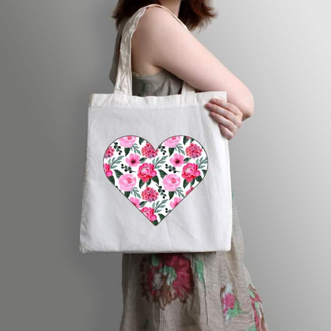 Valentine's Day heart design on a tote bag. One design, endless possiblities.