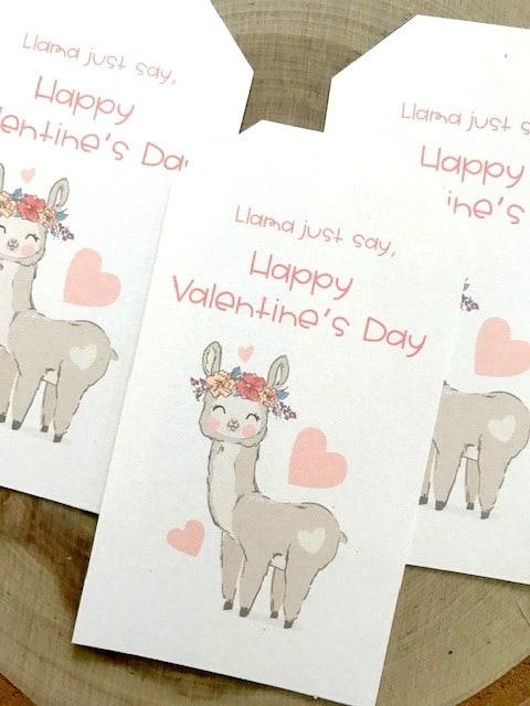llama valentine day tags
