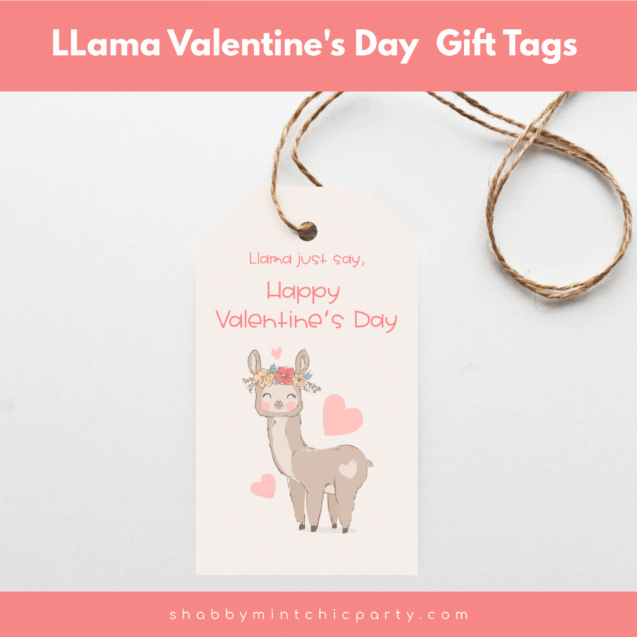 free Printable gift tags valentine's day llama