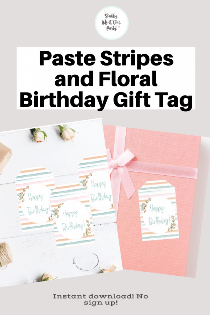 Free Paste stripes floral gift tags for birthdays