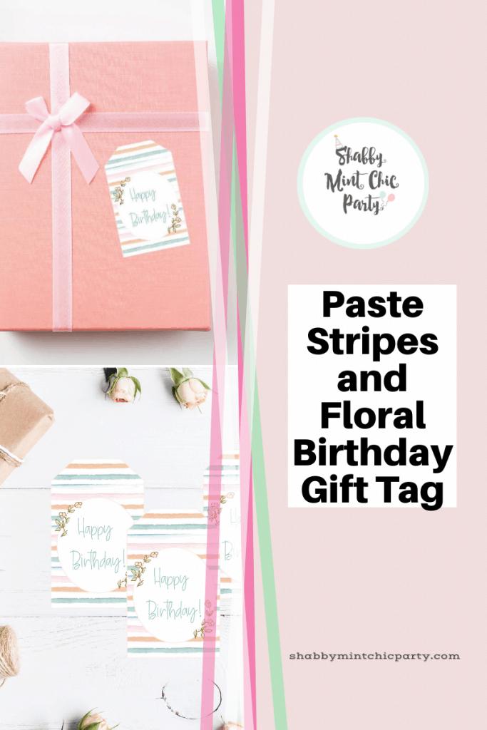 Free Printable Paste color stripes birthday gift tag