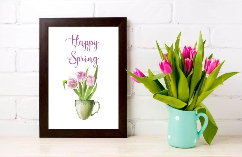 Spring printable freebie happy spring tulip in cup-01