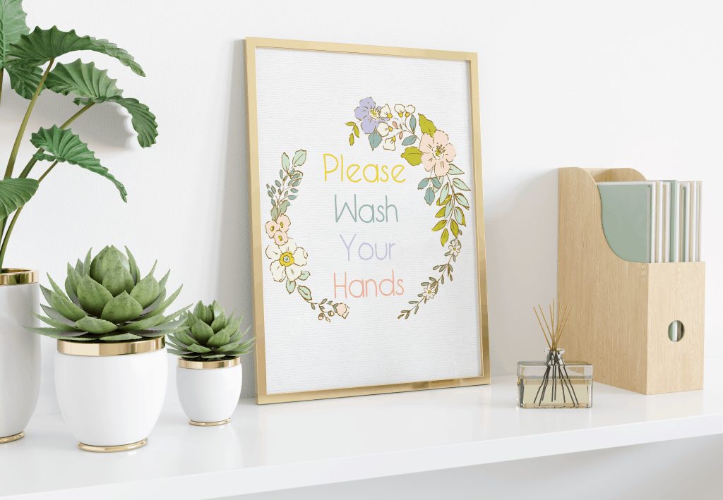 free printable please wash your hands green yellow floral minimal frame