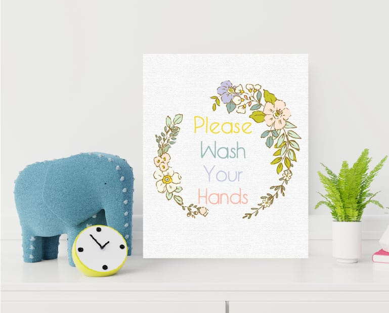 free printable please wash your hands floral nursery frame-01